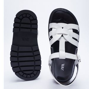 Zara white and black leather woven sandals